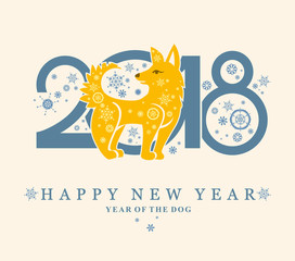 Cute card with a Yellow Dog in circle. New Year's design. 2018