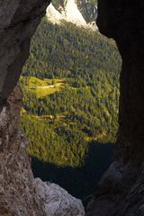 View through the natural window Prisojnikovo okno, Triglav National Park, Slovenia