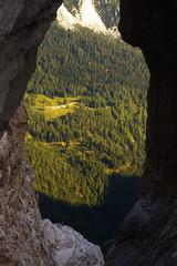 View through the natural window Prisojnikovo okno, Triglav National Park, Slovenia