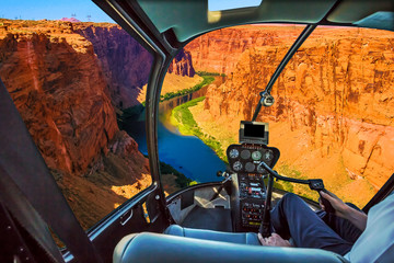 Printed roller blinds Helicopter Helicopter cockpit with pilot arm and control console inside the cabin on the Grand Canyon Lake Powell. Reserve on the Colorado River, straddling the border between Utah and Arizona. USA, America.