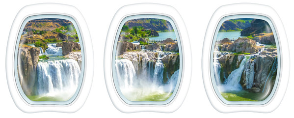 Three porthole frame windows on aerial view of Shoshone Falls or Niagara of the West, Snake River, Idaho, United States. American Summer Holidays in National Parks.