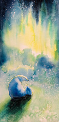 Watercolor painted picture of polar she-bear with  kid and aurora borealis in background.