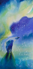 Watercolor painted picture of polar bear with aurora borealis in background.