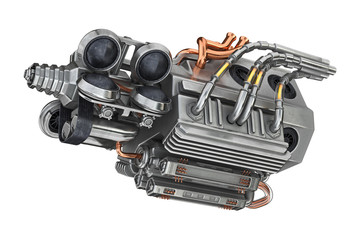 Sci-fi futuristic motor detail machine. 3D rendering