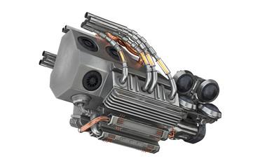 Sci-fi futuristic motor steel machine. 3D rendering