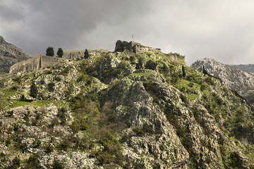 Ruins of fortress in Kotor. Montenegro