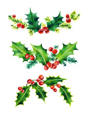 Christmas Holly set.  Holly leaves and red berries.  Watercolor illustration isolated on white background.
