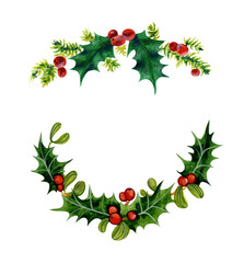 Branches of Christmas Holly. Watercolor illustration isolated on white background.