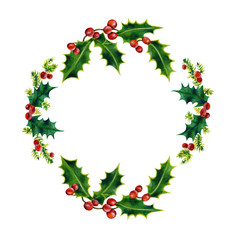 Christmas wreath. Watercolor illustration isolated on white background. Hand painted.