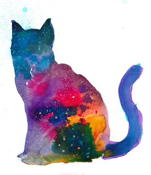 Space Cat watercolor illustration