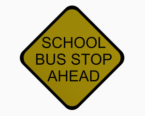 Verkehrsschild USA: Schulbus stoppt voraus auf weiß isoliert