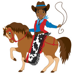 Vector Young African American Cowboy Riding a Horse