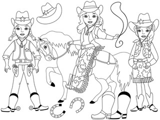 Vector Set with Young Beautiful Cowgirls, Horse, Lasso and Horseshoe
