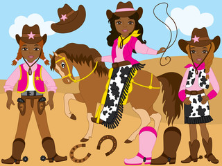 Vector Set with Young Beautiful African American Cowgirls, Horse, Lasso and Horseshoe