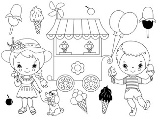 Vector Set with Cute Little Kids Having Ice Cream Party