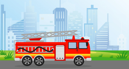 Vector illustration fire truck in flat style on modern city view background.