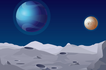 Vector illustration of Lunar landscape with craters. Beautiful planets on background.