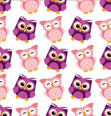 Vector illustration of colorful owl pattern on white background. Happy and joyful cartoon birds in flat style.