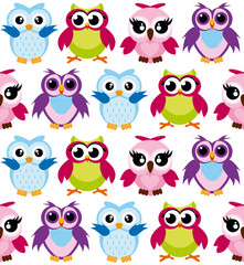 Vector illustration of colorful cartoon funny owls pattern on white background. Happy and joyful birds in flat style.