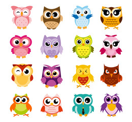 Vector illustration of colorful cartoon funny owls set on white background. Happy and joyful birds set in flat style.