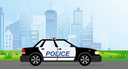 Vector illustration of Police Patrol Car on modern city background in flat style.