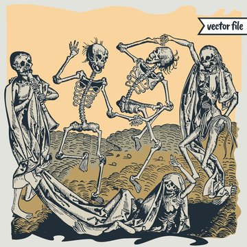 Medieval woodcut illustrations of the dance of death