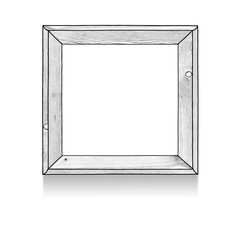 Sketch drawing of wooden square blank frame on white background