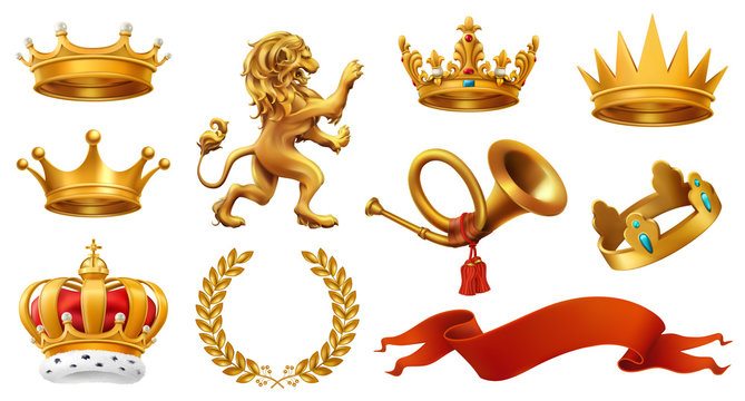 Gold crown of the king. Laurel wreath, trumpet, lion, ribbon. 3d vector icon set