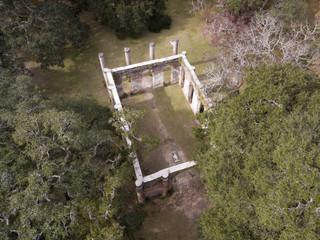 Aerial view of Old Sheldon Church Ruins in South Carolina, USA.