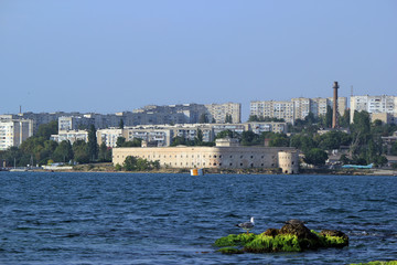 View of the Sevastopol Bay and Mikhaylovskaya coastal battery
