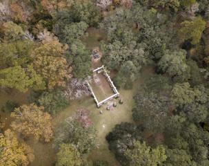 Aerial view of Old Sheldon Church ruin in South Carolina