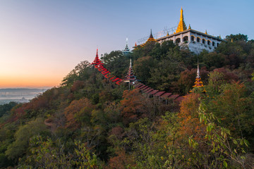Printed kitchen splashbacks Kyoto The temple on Mandalay Hills in Mandalay during the sunset in Myanmar.