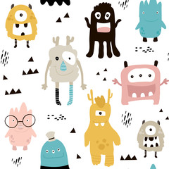 Childish seamless pattern with cute monsters. Trendy scandinavian vector background. Perfect for kids apparel,fabric, textile, nursery decoration,wrapping paper