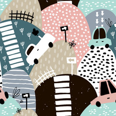 Seamless pattern with hand drawn cute car and hills. Cartoon cars, road sign, zebra crossing vector illustration. Perfect for kids fabric,textile,nursery wallpaper