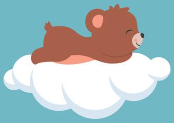 Cute Little Baby Bear Cub Sleeping on a Cloud Baby Shower