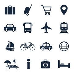 Travel and tourism icon set. Vector isolaed vavation travel symbol collection