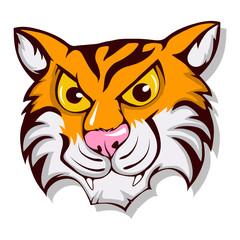 Cute cartoon tiger. Roaring Bengal Tiger. Exotic tiger face vector stock
