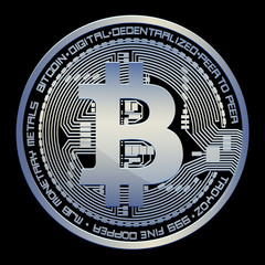 Crypto currency bitcoin vector illustration on a black background.
