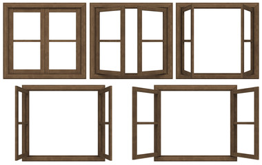 wooden window frame isolated on white background.