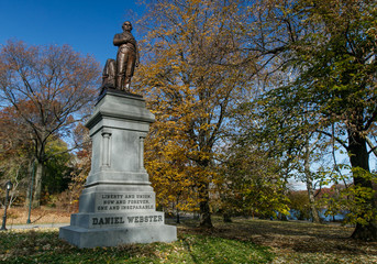Aluminium Prints Historic monument Statue of Daniel Webster in Central Park, New York City.