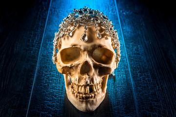 Skull decorated with diamonds.