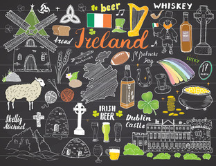 Ireland Sketch Doodles. Hand Drawn Irish Elements Set with flag and map of Ireland, Celtic Cross, Castle, Shamrock, Celtic Harp, Mill and Sheep, Whiskey Bottles and Irish Beer, Vector on chalkboard