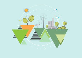 Eco and nature concept.Geometric flat line and poster background design with simple shapes.Vector illustration.