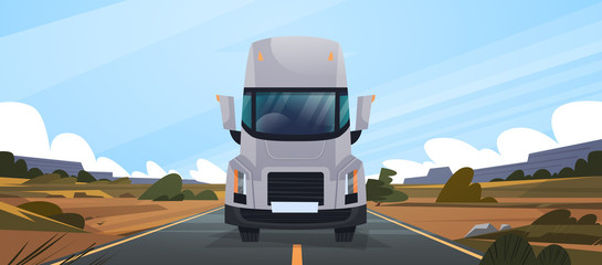 Big Truck Trailer Driving On Road In Contryside Front View of Vahicle Delivery Natural Landscape Vector Illustration