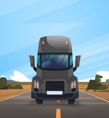 Front View Of Cargo Truck Trailer Driving On Coutryside Road Over Blue Sky Landscape Vector Illustration
