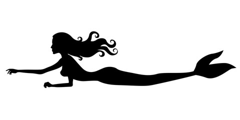 Silhouette of swimming mermaid