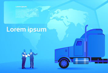 World Delivery Concept Two Business Men Looking at Documents And Map Standing At Big Cargo Truck Trailer Vehicle Cargo Shipping Vector Illustration