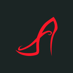 Abstract high heel shoe symbol, icon. Used for logo