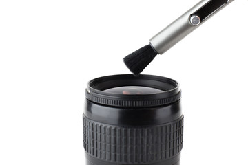 camera Lens cleaning with brush  isolated background