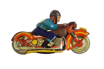 Motorcycle racer, old clockwork toy